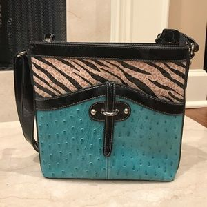 MC Gorgeous turquoise zebra and patent leather bag